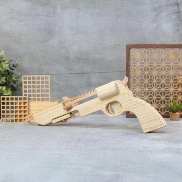 [WFG] Top Gun - Revolver Rubber Band Gun wood, woodwork, stationary