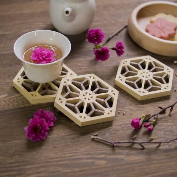 Kumiko Coaster-Cherry blossoms 杯墊,加拿大檜木,體驗,手作,組子欄間