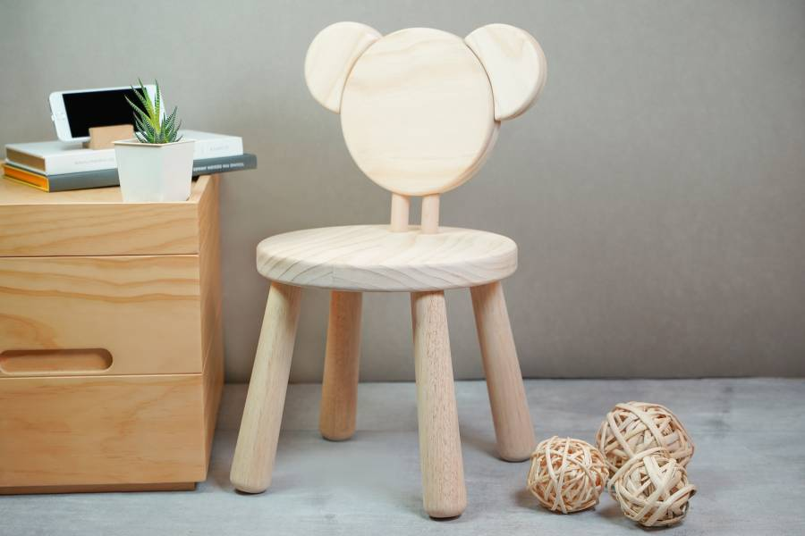 Bear Chair 熊,木椅,-兒童,桌椅