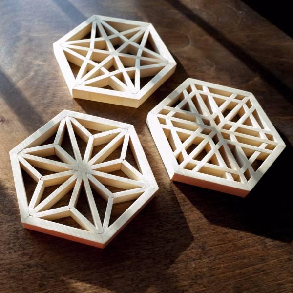 Kumiko Coaster wooden, woodwork, kumiko coaster,
