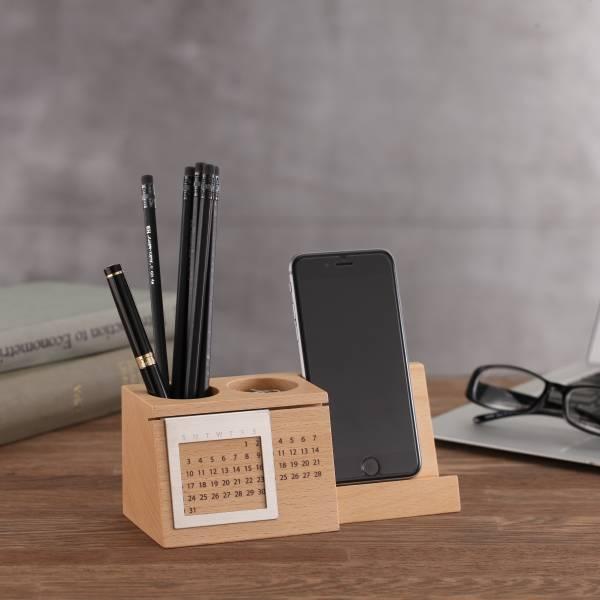 【福利品】萬年曆 實木萬年曆,桌上收納好幫手。可放置名片或是手機