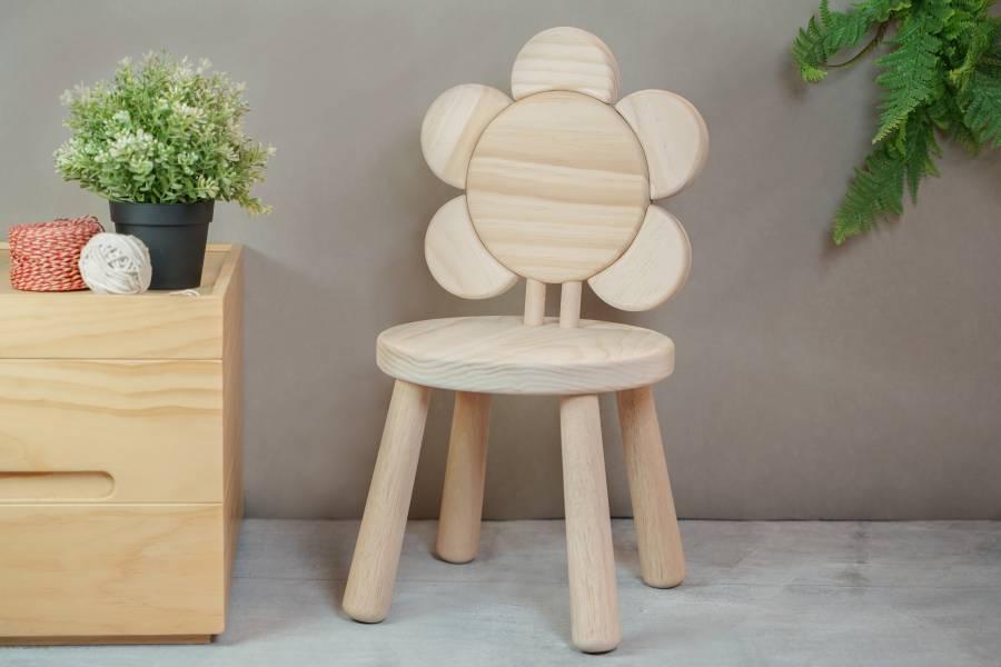 Flower Chair 木椅,花,兒童,桌椅