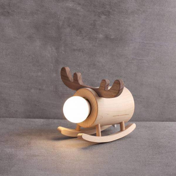 Deer Light 麋鹿,夜燈,原木,搖擺,療育