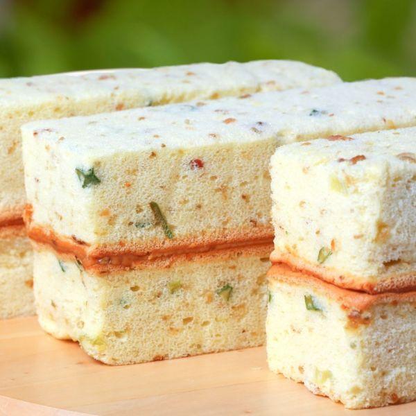 岩鹽蛋糕*蔥香鹹蛋糕夾上香濃花生醬