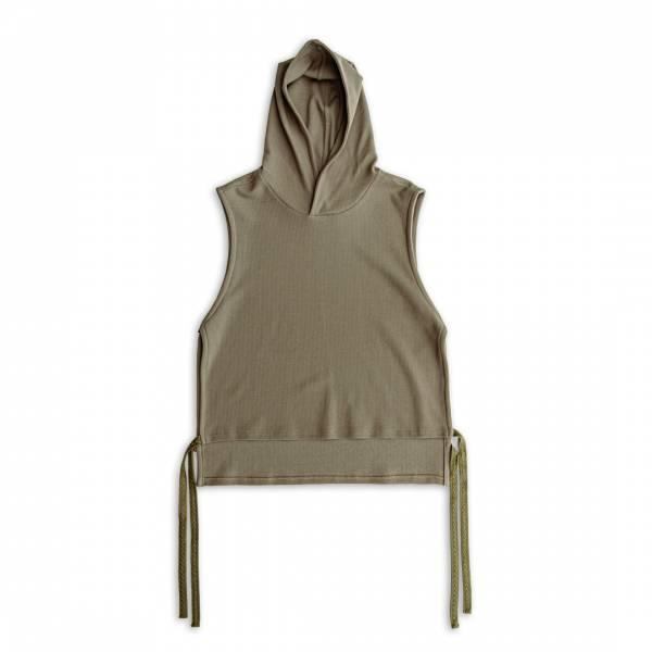 蜂巢針織 / 連帽綁帶背心 蜂巢針織,連帽,綁帶,背心,沙漠色,卡其色