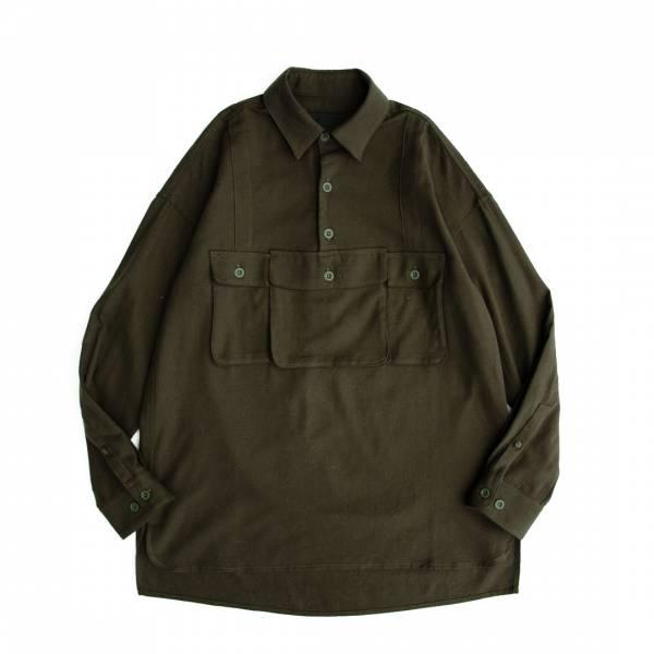 古著風軍事掛袋襯衫 軍綠色,纺起绒加工,古著風,軍事,掛袋,襯衫,刷毛,