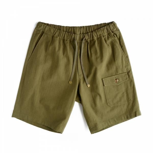水洗棉麻短褲 水洗,棉麻,灰紫色,軍綠色,鬆緊帶,抽繩,短褲