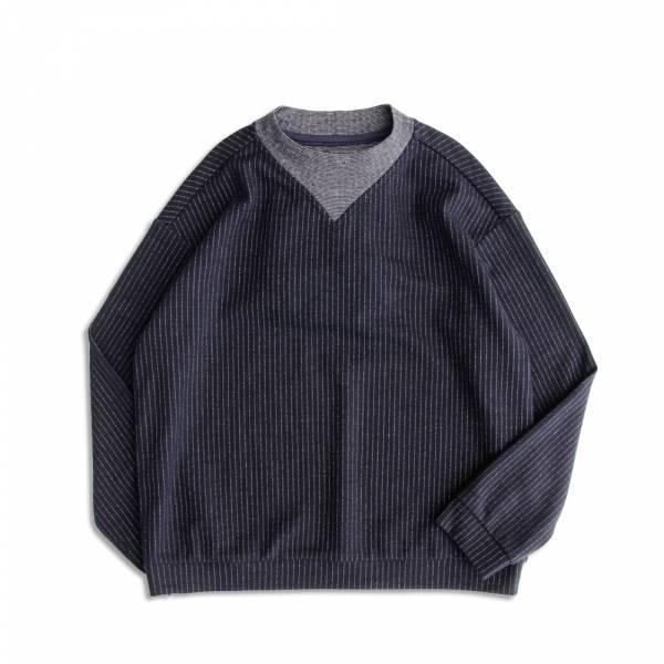 直條紋羊毛針織上衣 日本,羊毛,條紋,深藍色,大學T,衛衣,machismo