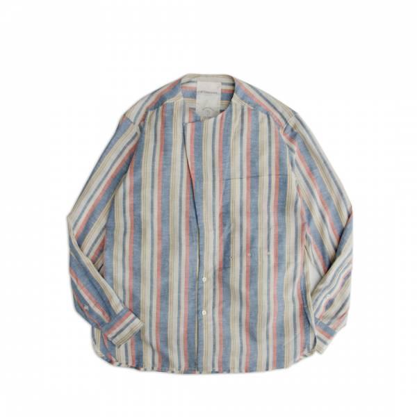 棉蠶絲條紋無領襯衫/Silk-Cotton Blend Collarless Striped Shirt 抗UV,抗靜電,吸溼透氣,棉,蠶絲,鬆身,直條紋,無領襯衫