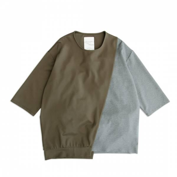 涼感四面彈撞色剪接T恤/Asymmetrical Cut-And-Sew Tee 抗UV,抗靜電,吸溼透氣,棉,蠶絲,鬆身,直條紋,無領襯衫