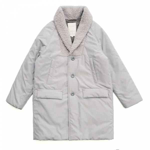 羊毛絨領鋪棉中長大衣 中長.和風.外套.大衣.天然人造絲.滑順.白煙灰.羊毛絨.蓬鬆感.鋪棉