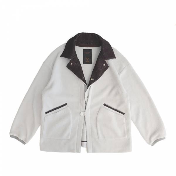 可拆卸植絨領 刷毛針織罩衫-限量活動商品 刷毛,可拆領,和風,無領,獨家販售,淺灰色,罩衫,限量商品