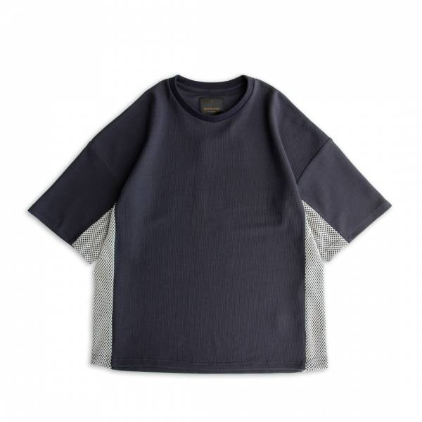 蜂巢針織/漁網織透氣T恤 蜂巢針織,漁網織,透氣,T恤,麻藍色,深灰藍