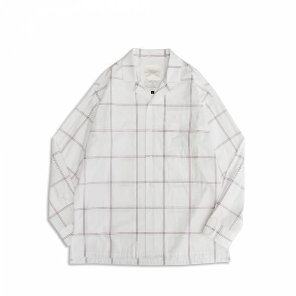 大格紋雙貼袋古巴領襯衫 日本,白色,大間距,格紋,水洗,古巴領,襯衫