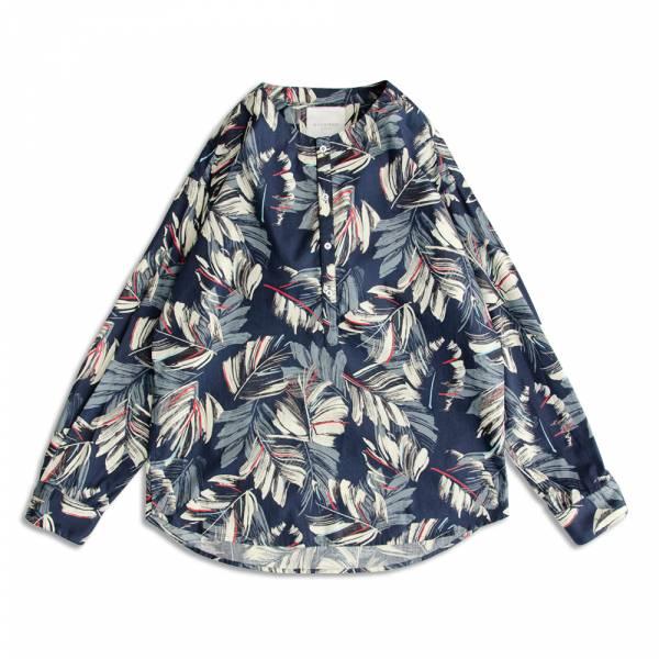 羽毛滿版印花平領襯衫 羽毛,圖案,滿版,印花,平領,襯衫