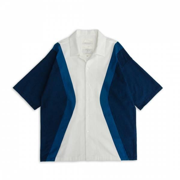 藍染風剪接襯衫 藍染,粗棉布,dungaree,古巴領,開領,短袖襯衫,