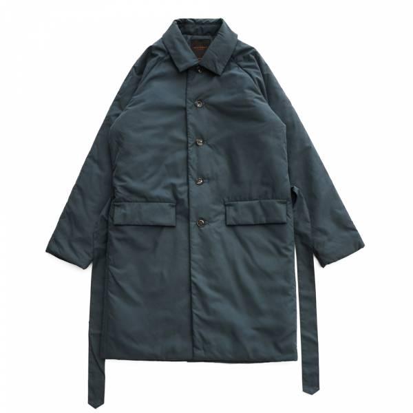 鋪棉長版大衣 shopcoat 單排釦,拉哥蘭袖,日本進口面料,磨毛,滑順,腰帶,蓬鬆感,鋪棉,長版,鴨綠色,濃藍色