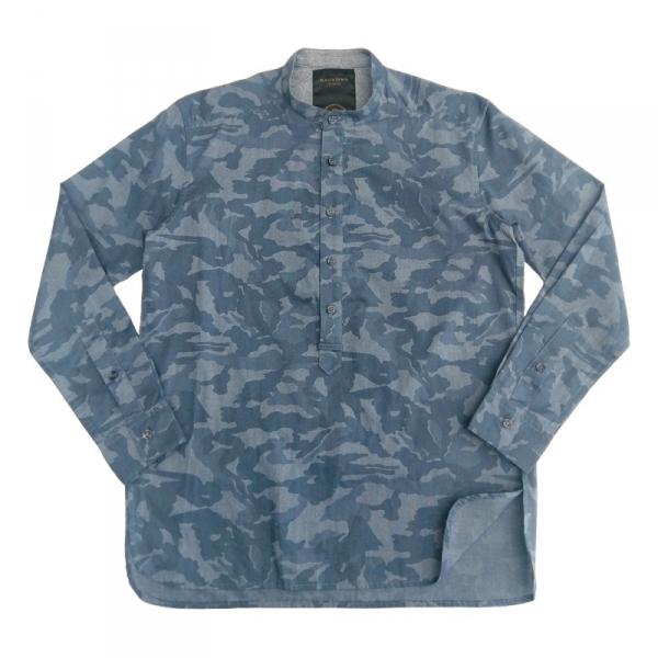 藍迷彩半開襟平領襯衫 藍色,迷彩,半開襟,襯衫