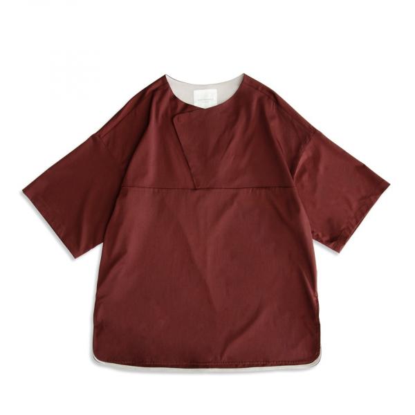 (吸汗速乾)半開襟短袖上衣 bemberg,吸汗,速乾,磚紅色,半開襟,短袖,上衣,T恤