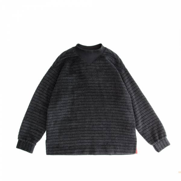 安哥拉羊毛條紋拉鍊針織上衣 安哥拉,羊毛,拉鍊,黑色,條紋,針織上衣,衛衣,微高領