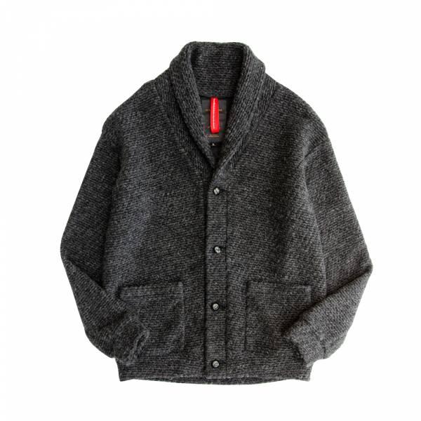 羊毛翻領針織罩衫 黑色,翻領,蓬鬆,保暖,柔軟,舒適,日本,圈圈紗,針織,罩衫,boucle,ブークレー,ニット