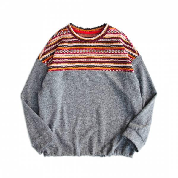 提花針織剪接羊毛上衣 電腦,提花針織,羊毛,上衣,灰色,奶茶色,衛衣,大學T,民族風,