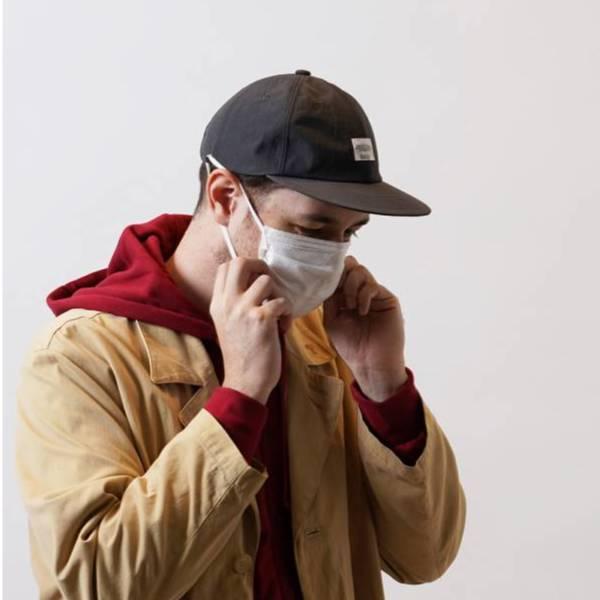 可掛口罩棒球帽 NYLON FLATS CAP 日本製,防潑水,棒球帽,灰色,黑色,掛口罩,防疫