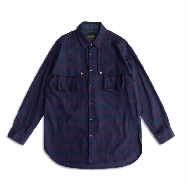 藍格紋夾彩花鬆身長版襯衫 日本製面料,磨毛,藍紅格,夾紗,鬆身,長版,襯衫,聖誕節