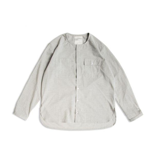 有機棉無領長袖襯衫 有機棉,蒼綠色,無領,長袖,襯衫