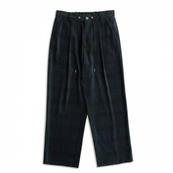 綠格九分直筒褲 日本,綠格紋,磨毛,鬆緊帶腰頭,九分褲,直筒褲