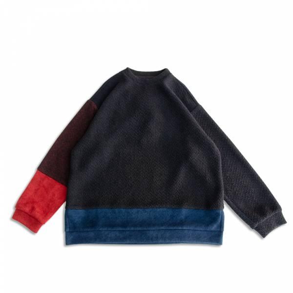 撞色剪接針織衛衣/大學T 日本製,針織,黑,紅,藍,撞色,衛衣,大學T