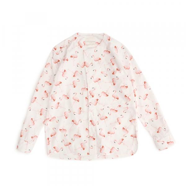 紅鶴-無領襯衫 紅鶴,滿版,印花,無領,襯衫,白色