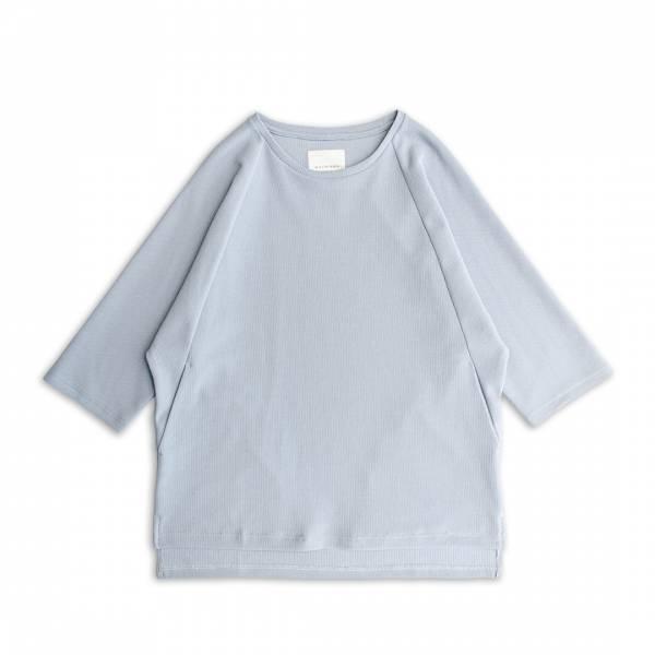 蜂巢針織七分袖T恤 蜂巢針織,七分袖,T恤,水藍色,淺藍色,黑色