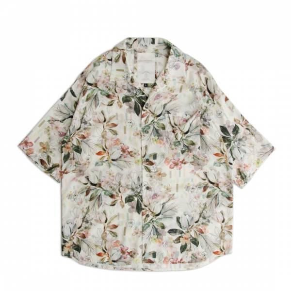 滿版印花古巴領夏威夷襯衫 / Hawaii shirt 古巴領,滿版,印花,夏威夷襯衫,短袖,襯衫,花卉,米色,垂墜感