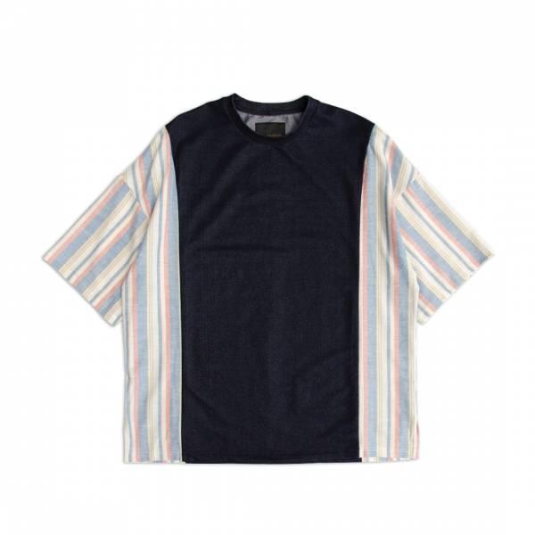 棉蠶絲條紋剪接T恤 / Silk-Cotton Blend Cut-And-Sew Striped T-Shirt 棉蠶絲,吸濕,透氣,抗UV,抗靜電,四面彈,鬆身,條紋,T恤