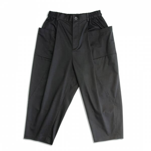 大口袋繭型圓筒褲 黑色,彈性,立體剪裁,圓筒褲,繭型褲,氣球褲