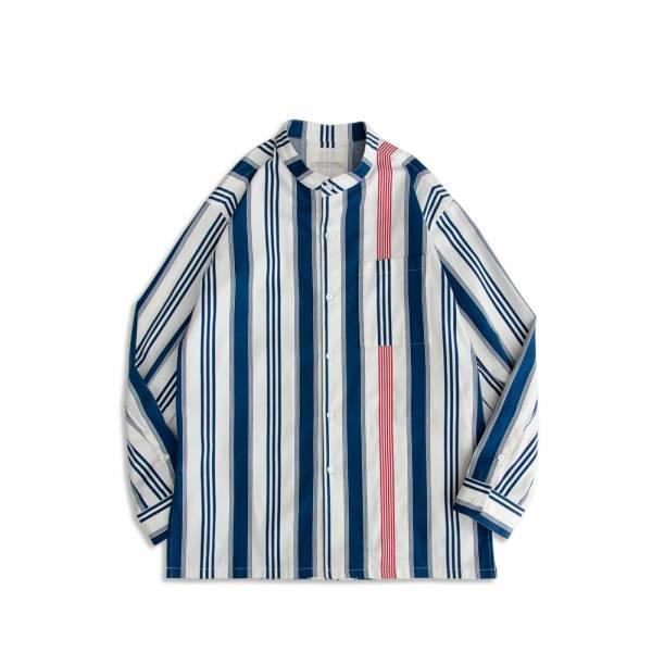 直條紋牛津立領襯衫 Oxford,Shirt,牛津紡,藍白條紋,直條紋,鬆身,長袖,襯衫