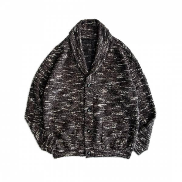 圈圈紗翻領開襟針織衫 圈圈紗,羊毛,混紡,開襟,針織衫,灰色,日系