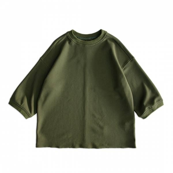 蜂巢針織8分袖上衣 Russellish,Jersey,蜂巢布,八分袖,上衣,T恤,軍綠色,灰色,
