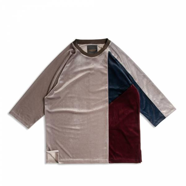 絲絨三色剪接七分袖T恤 絲絨,三色,剪接,七分袖,T恤