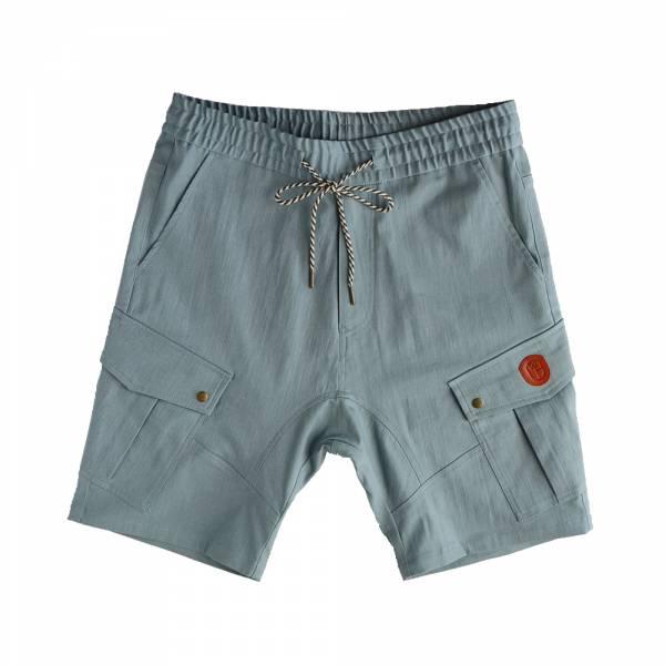 多口袋軍工短褲 灰藍色,多口袋,彈性,仿水洗,軍工短褲