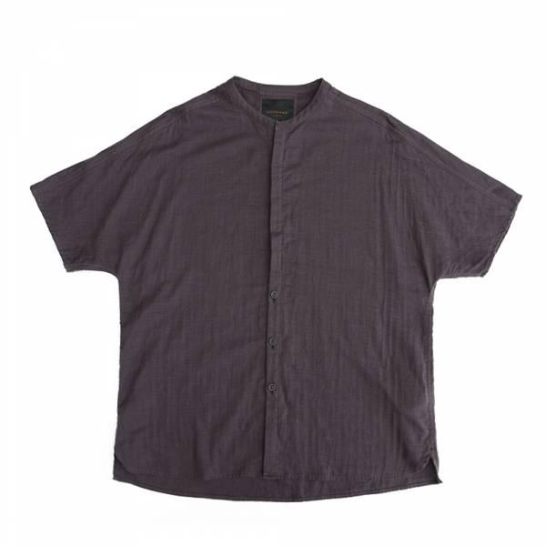 小立領拉克蘭短袖襯衫 灰紫色,綿,拉克蘭袖,小立領,短袖,襯衫