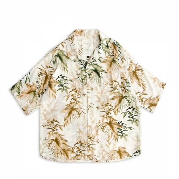 樹葉印花古巴領襯衫 樹葉印花,滿版印刷,牙白,米白色,古巴領,開領,短袖襯衫,日本印花布,