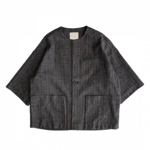 和風無領罩衫(野良著) 和風,野良著,日式,深藍色,無領,罩衫,外套,九分袖長,棉,麻,
