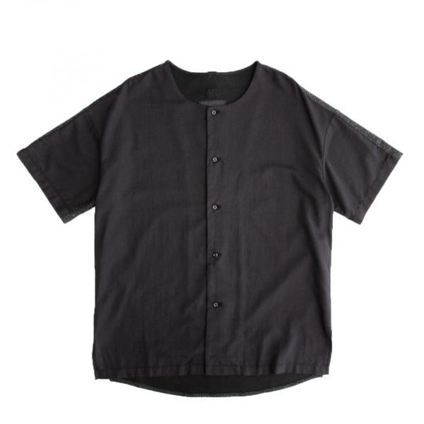 黑色拼接T恤襯衫 黑色,棉麻,花紗,異材質,拼接,T恤,襯衫