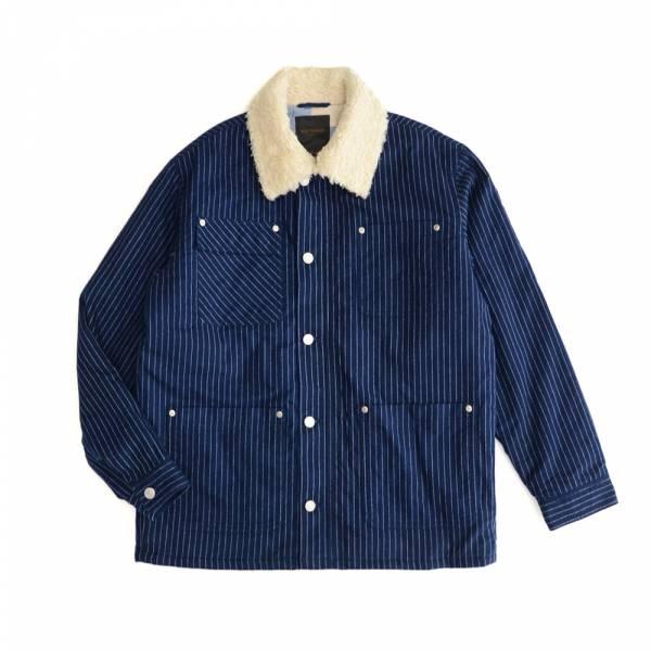 藍染鋪棉毛領工裝外套 藍染,毛領,直條紋,深藍色,鋪棉,工裝,外套,夾克,waldes