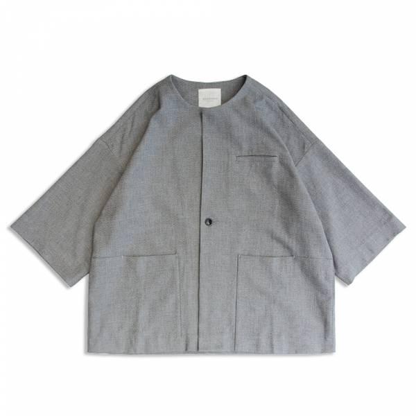 和風無領罩衫 日本進口面料,灰色,無領,和風,鬆身版型,罩衫,外套