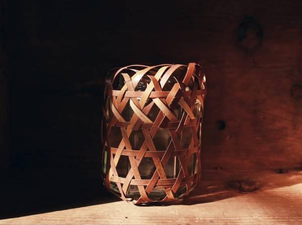 筑子_六角孔編紋玻璃花器
