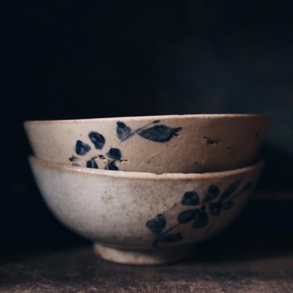 早期一抹藍葉手繪碗