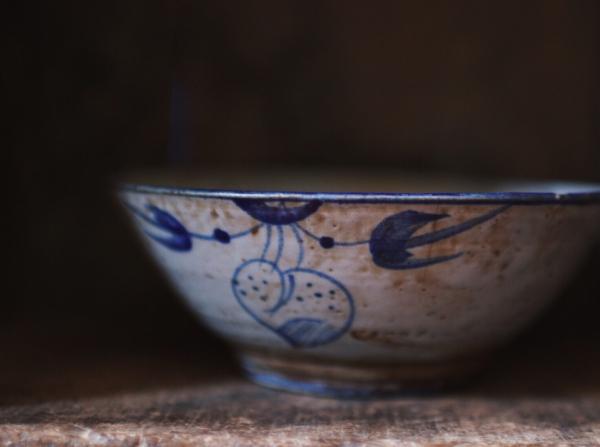 早期疊燒手繪桃子老碗